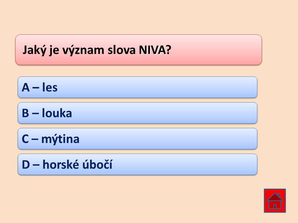 NIVA Jaký je význam slova NIVA? A – les B – louka C – mýtina D – horské úbočí