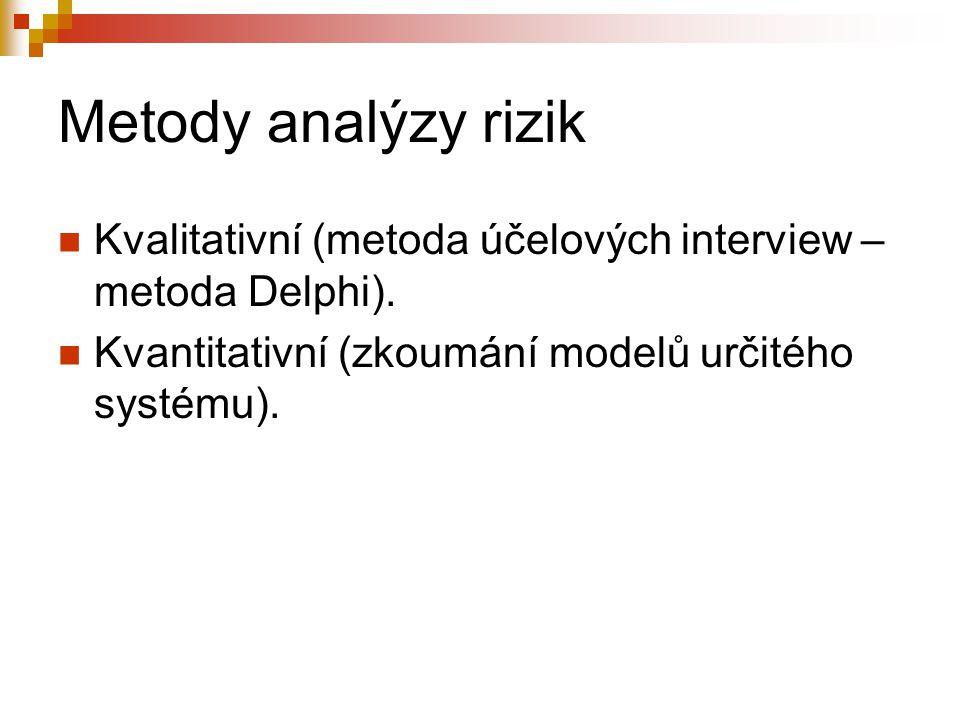Metody analýzy rizik Kvalitativní (metoda účelových interview – metoda Delphi). Kvantitativní (zkoumání modelů určitého systému).