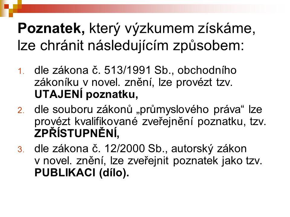 Poznatek, který výzkumem získáme, lze chránit následujícím způsobem: 1. dle zákona č. 513/1991 Sb., obchodního zákoníku v novel. znění, lze provézt tz