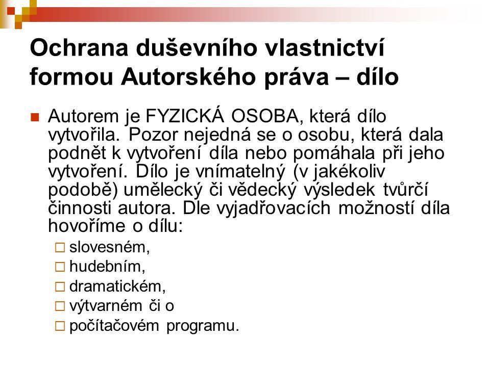 Ochrana duševního vlastnictví formou Autorského práva – dílo Autorem je FYZICKÁ OSOBA, která dílo vytvořila.