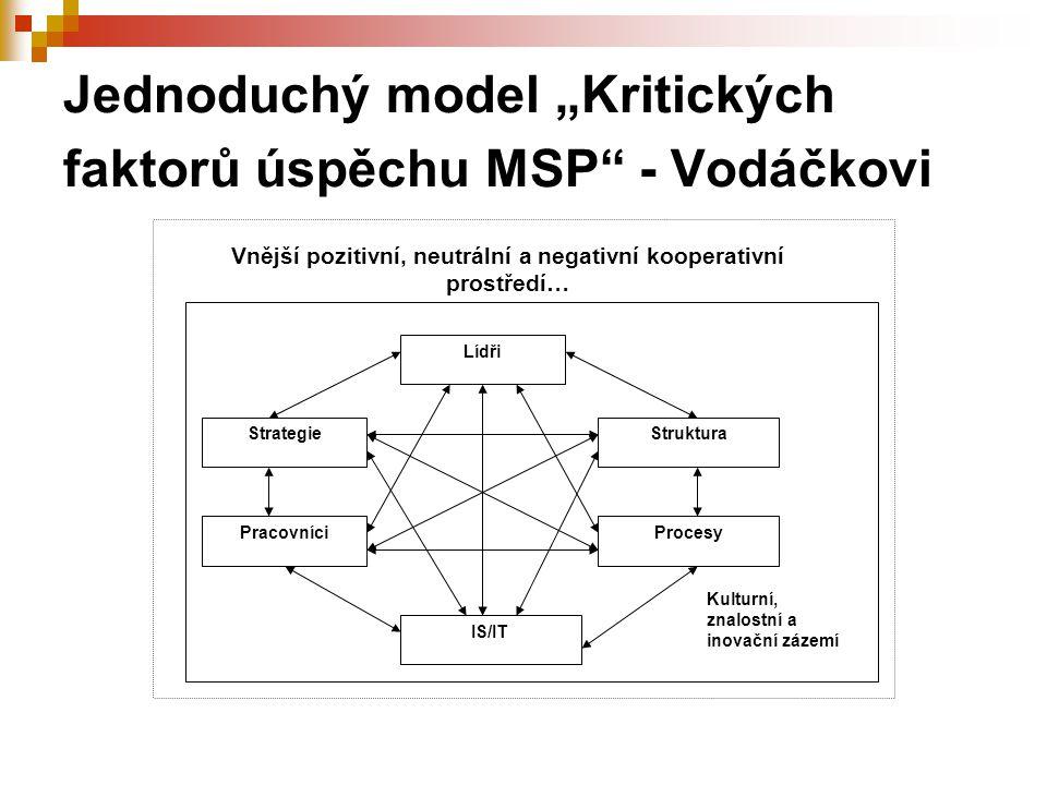 """Jednoduchý model """"Kritických faktorů úspěchu MSP"""" - Vodáčkovi Lídři Strategie Pracovníci Struktura Procesy IS/IT Kulturní, znalostní a inovační zázemí"""