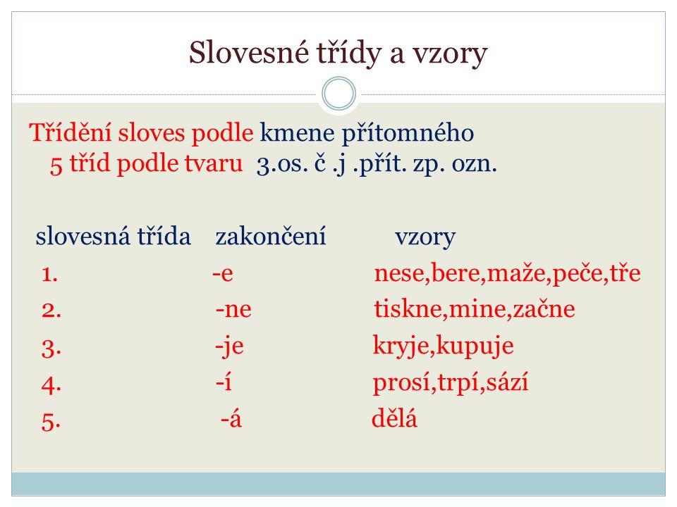 Slovesné třídy a vzory Třídění sloves podle kmene přítomného 5 tříd podle tvaru 3.os. č.j.přít. zp. ozn. slovesná třída zakončení vzory 1. -e nese,ber