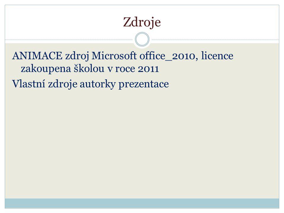 Zdroje ANIMACE zdroj Microsoft office_2010, licence zakoupena školou v roce 2011 Vlastní zdroje autorky prezentace