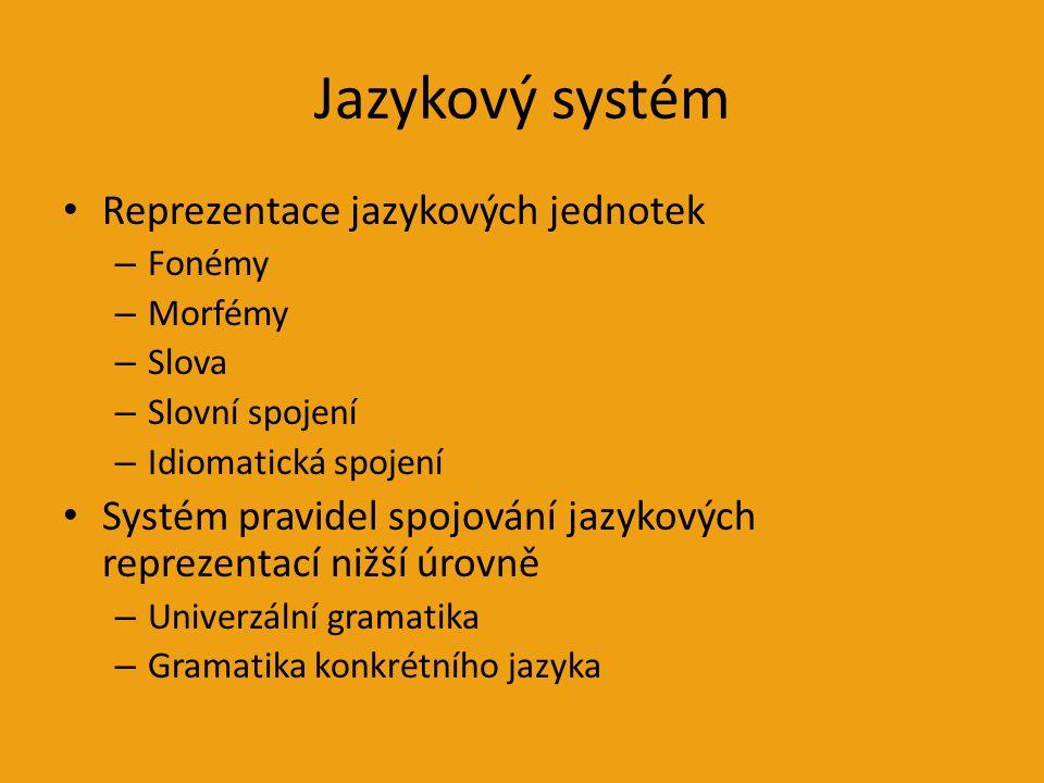 Jazykový systém Reprezentace jazykových jednotek – Fonémy – Morfémy – Slova – Slovní spojení – Idiomatická spojení Systém pravidel spojování jazykových reprezentací nižší úrovně – Univerzální gramatika – Gramatika konkrétního jazyka