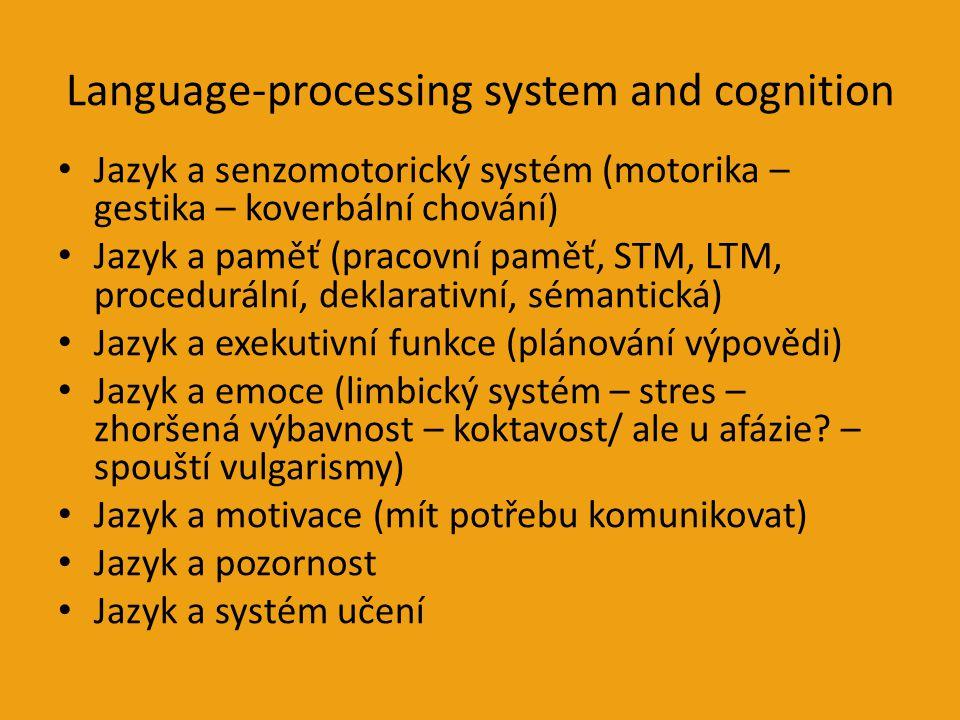 Language-processing system and cognition Jazyk a senzomotorický systém (motorika – gestika – koverbální chování) Jazyk a paměť (pracovní paměť, STM, LTM, procedurální, deklarativní, sémantická) Jazyk a exekutivní funkce (plánování výpovědi) Jazyk a emoce (limbický systém – stres – zhoršená výbavnost – koktavost/ ale u afázie.