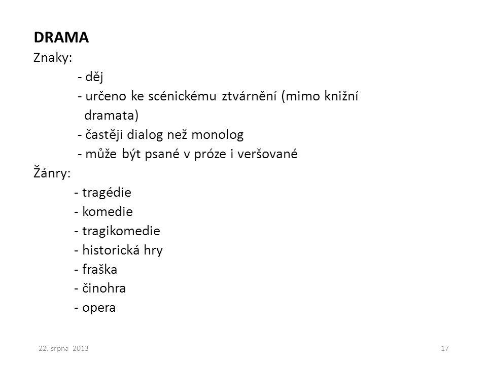 LYRICKOEPICKÉ ŽÁNRY -balada -romance -básnická povídka (poema) 22. srpna 201318