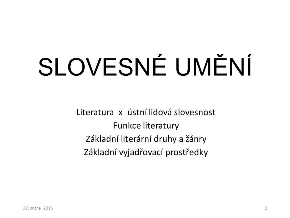 SLOVESNÉ UMĚNÍ Literatura x ústní lidová slovesnost Funkce literatury Základní literární druhy a žánry Základní vyjadřovací prostředky 22.