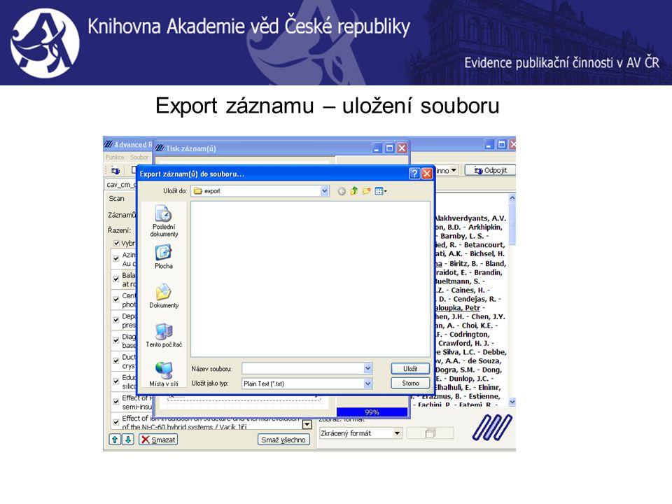 Export záznamu – uložení souboru