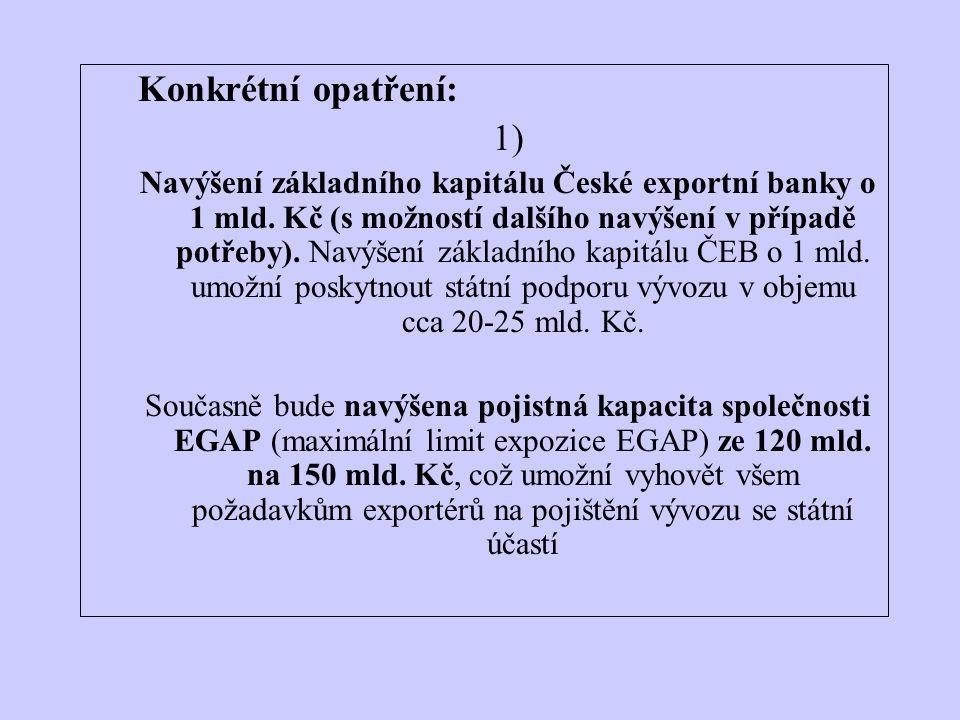 Konkrétní opatření: 1) Navýšení základního kapitálu České exportní banky o 1 mld.