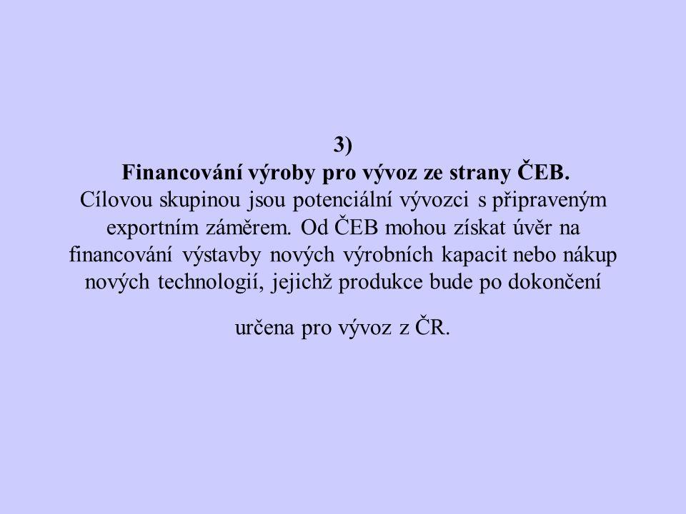 3) Financování výroby pro vývoz ze strany ČEB.