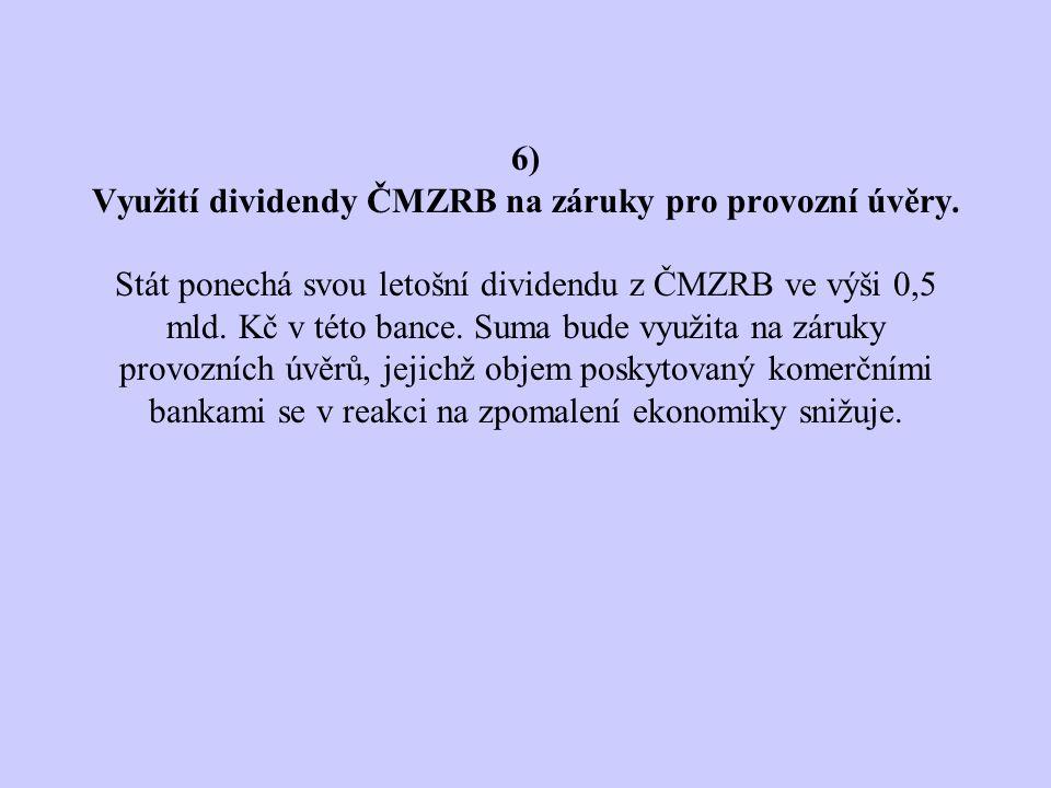 6) Využití dividendy ČMZRB na záruky pro provozní úvěry.
