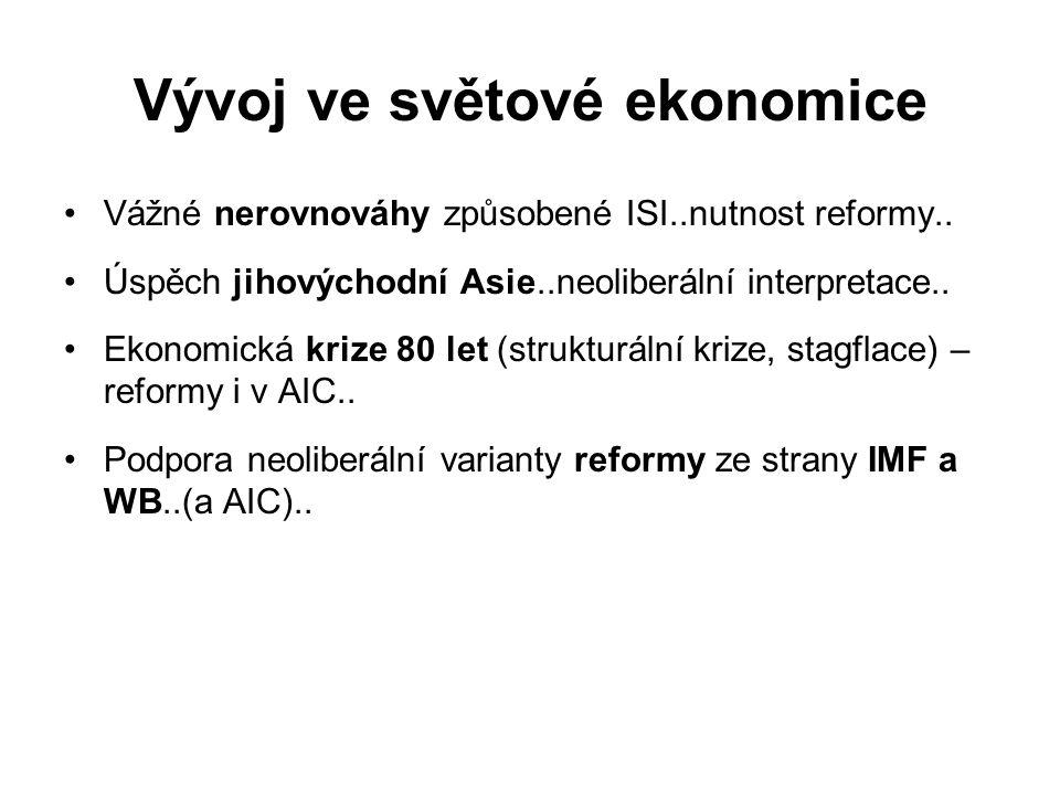Vývoj ve světové ekonomice Vážné nerovnováhy způsobené ISI..nutnost reformy..