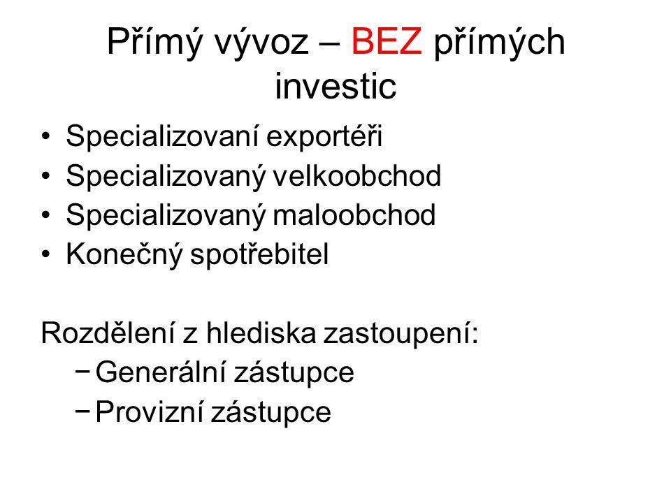 Přímý vývoz – BEZ přímých investic Specializovaní exportéři Specializovaný velkoobchod Specializovaný maloobchod Konečný spotřebitel Rozdělení z hlediska zastoupení: −Generální zástupce −Provizní zástupce