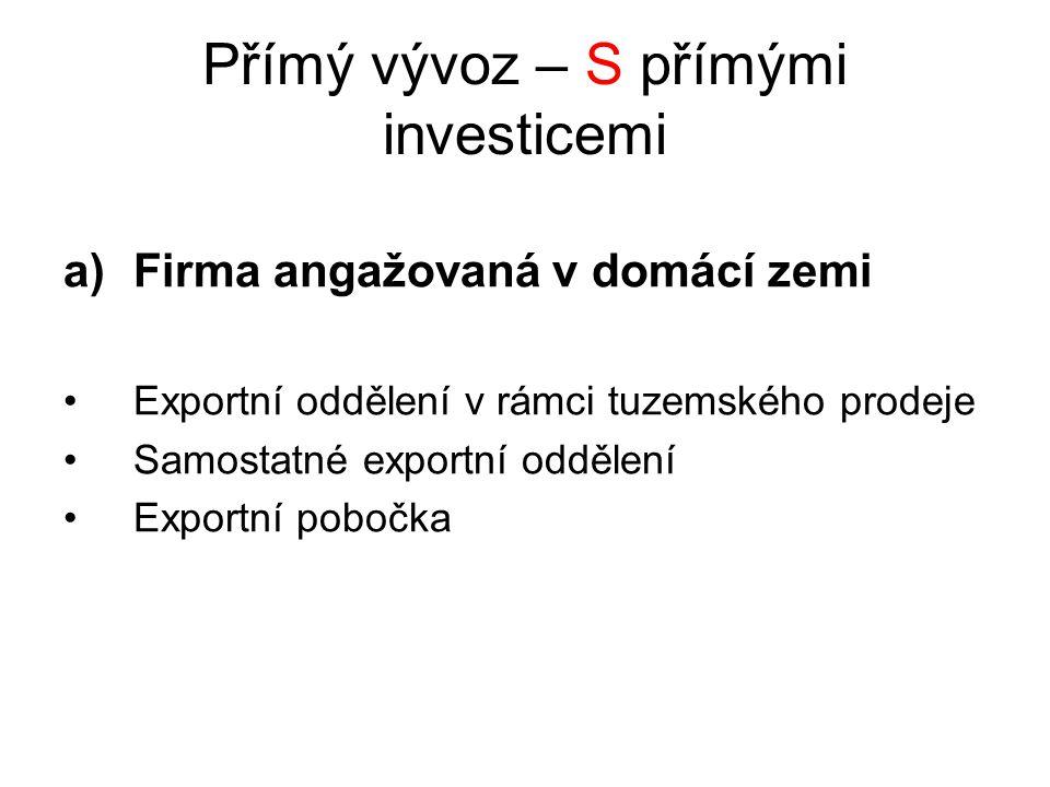 Přímý vývoz – S přímými investicemi a)Firma angažovaná v domácí zemi Exportní oddělení v rámci tuzemského prodeje Samostatné exportní oddělení Exportní pobočka