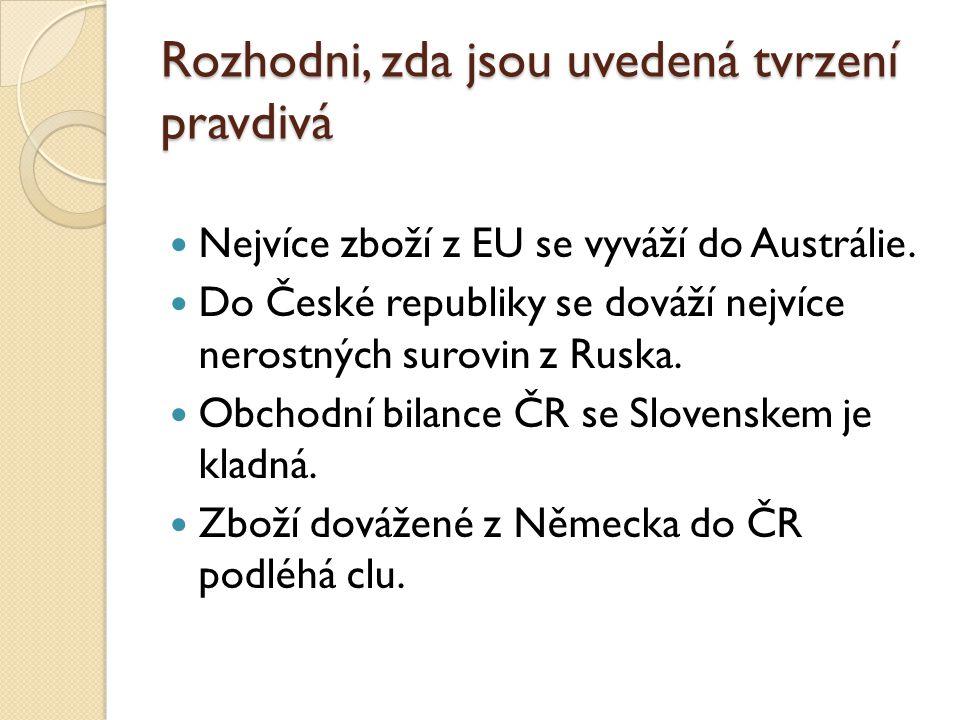 Rozhodni, zda jsou uvedená tvrzení pravdivá Nejvíce zboží z EU se vyváží do Austrálie. Do České republiky se dováží nejvíce nerostných surovin z Ruska