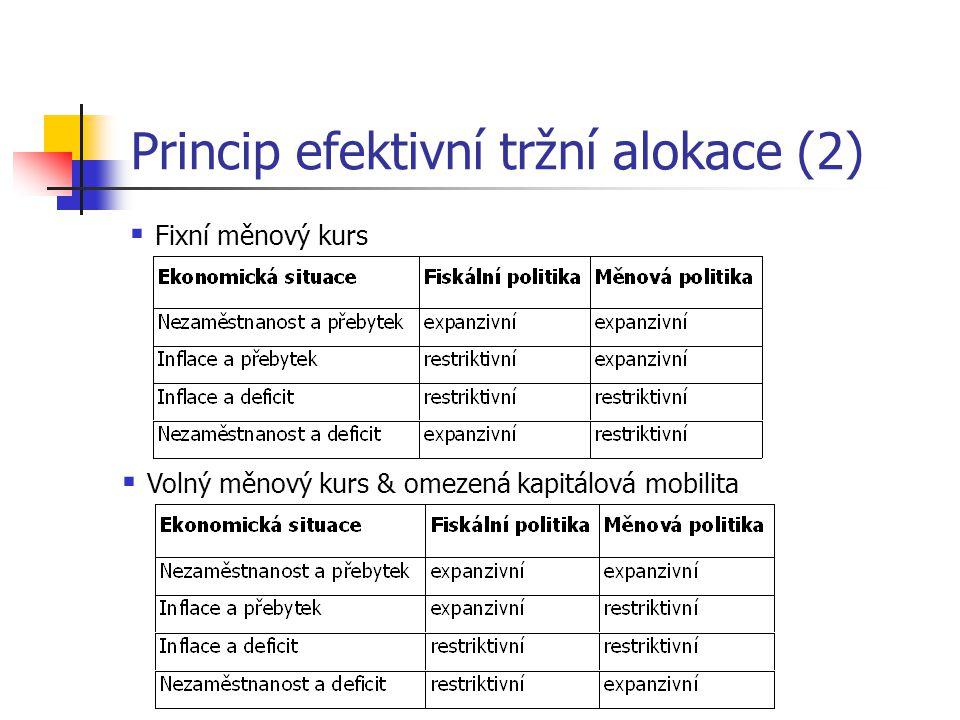 Princip efektivní tržní alokace (2)  Fixní měnový kurs  Volný měnový kurs & omezená kapitálová mobilita