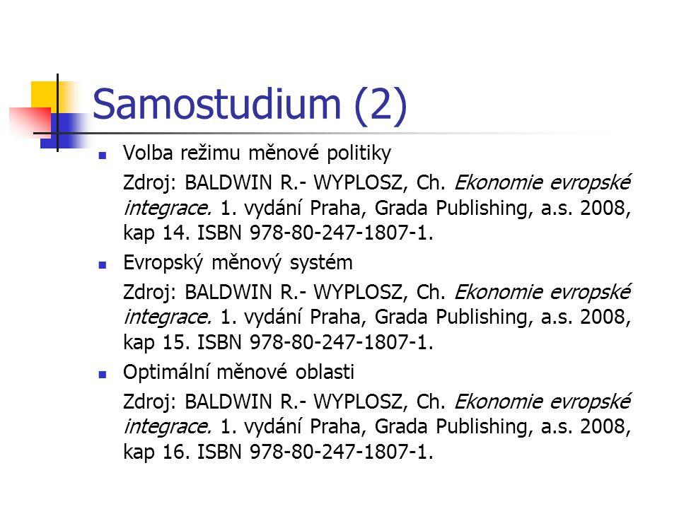 Samostudium (2) Volba režimu měnové politiky Zdroj: BALDWIN R.- WYPLOSZ, Ch. Ekonomie evropské integrace. 1. vydání Praha, Grada Publishing, a.s. 2008