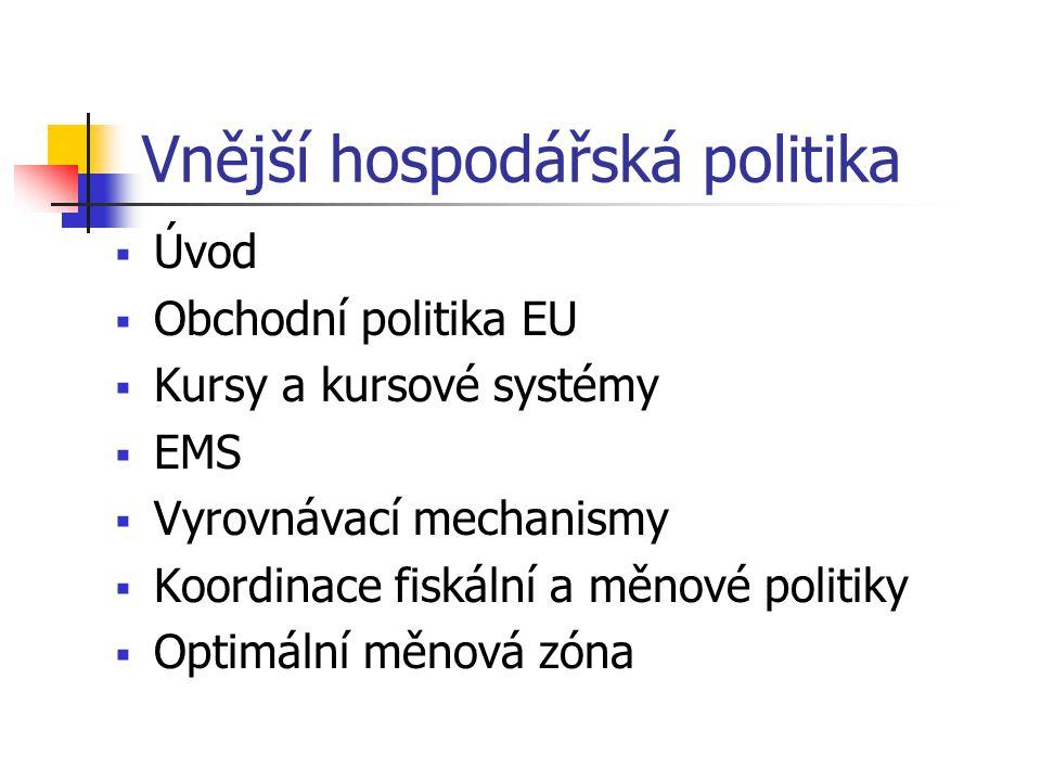 Vnější hospodářská politika  Úvod  Obchodní politika EU  Kursy a kursové systémy  EMS  Vyrovnávací mechanismy  Koordinace fiskální a měnové poli