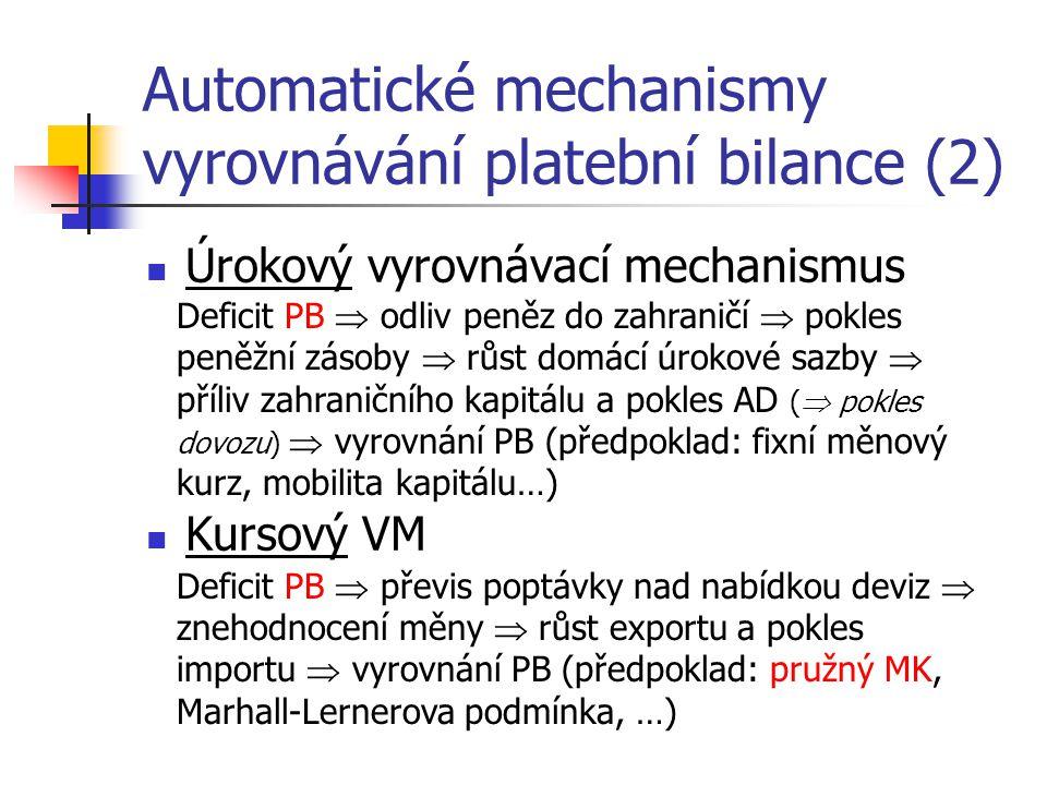 Automatické mechanismy vyrovnávání platební bilance (2) Úrokový vyrovnávací mechanismus Kursový VM Deficit PB  odliv peněz do zahraničí  pokles peně