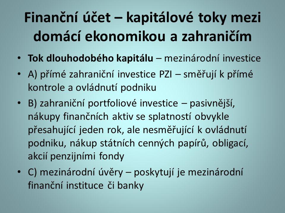 Finanční účet – kapitálové toky mezi domácí ekonomikou a zahraničím Tok dlouhodobého kapitálu – mezinárodní investice A) přímé zahraniční investice PZ