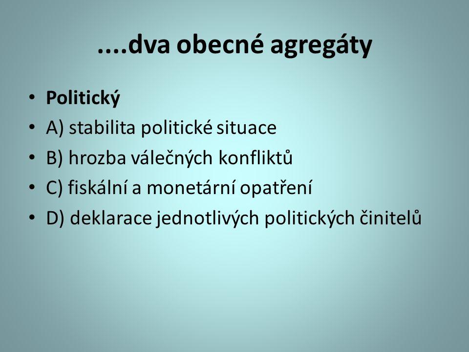 ....dva obecné agregáty Politický A) stabilita politické situace B) hrozba válečných konfliktů C) fiskální a monetární opatření D) deklarace jednotliv