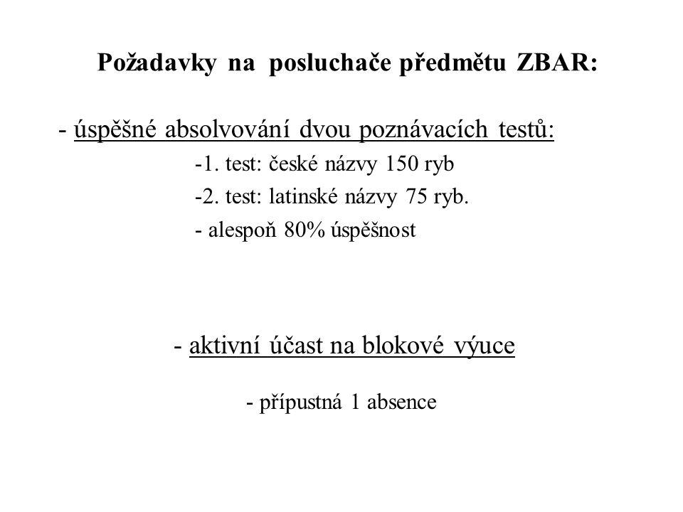 Požadavky na posluchače předmětu ZBAR: - úspěšné absolvování dvou poznávacích testů: -1. test: české názvy 150 ryb -2. test: latinské názvy 75 ryb. -