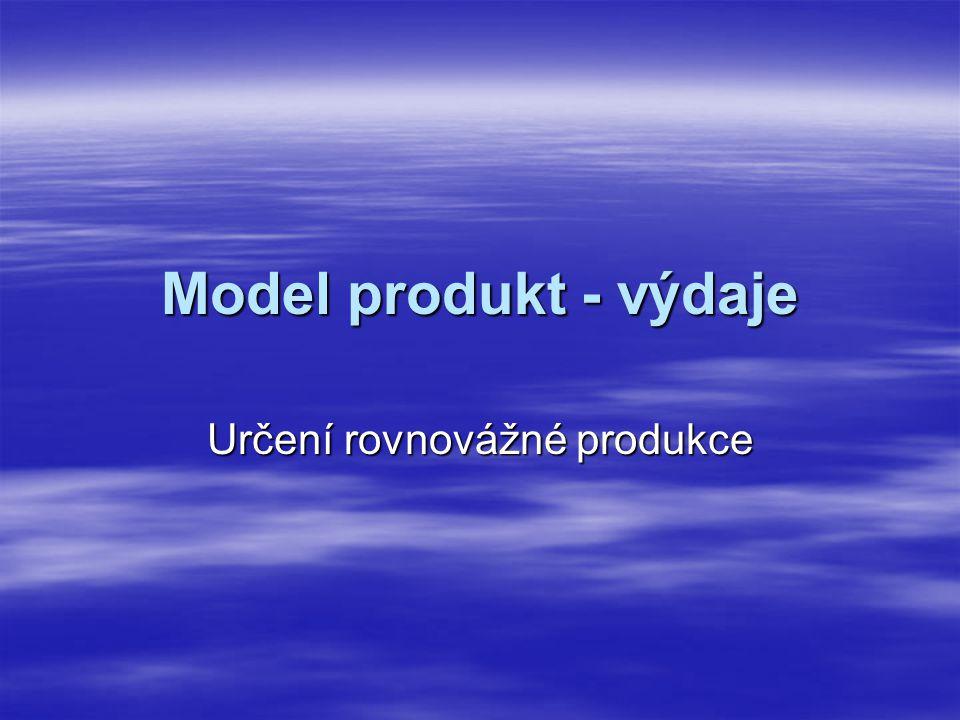 Model produkt - výdaje Určení rovnovážné produkce
