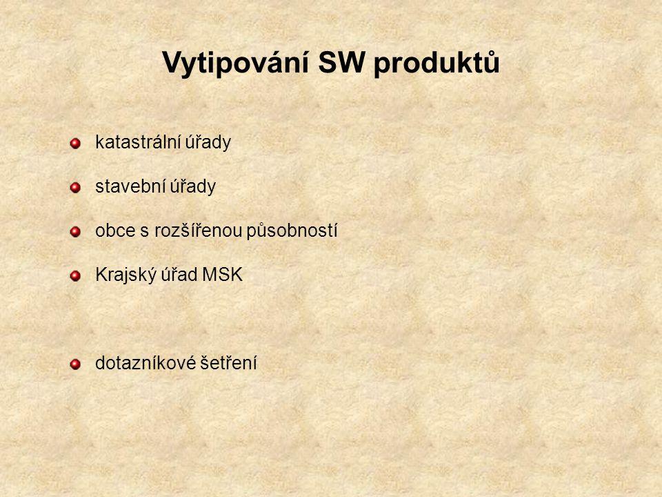 Vytipování SW produktů katastrální úřady stavební úřady obce s rozšířenou působností Krajský úřad MSK dotazníkové šetření
