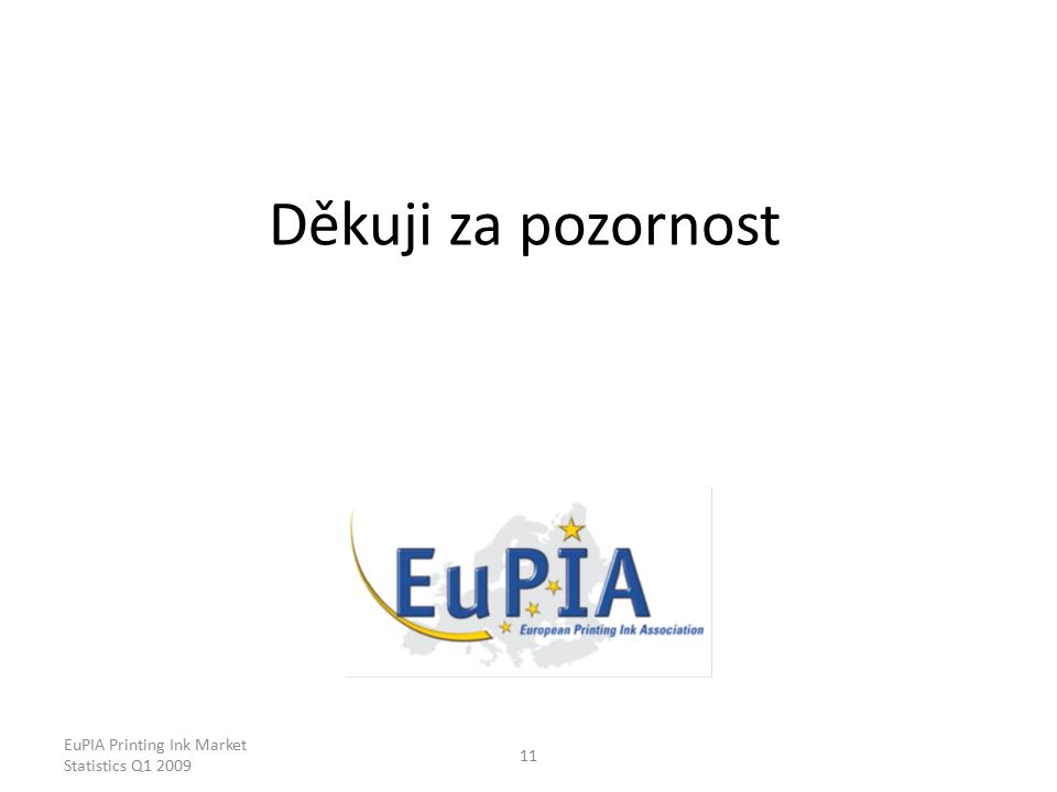 EuPIA Printing Ink Market Statistics Q1 2009 11 Děkuji za pozornost