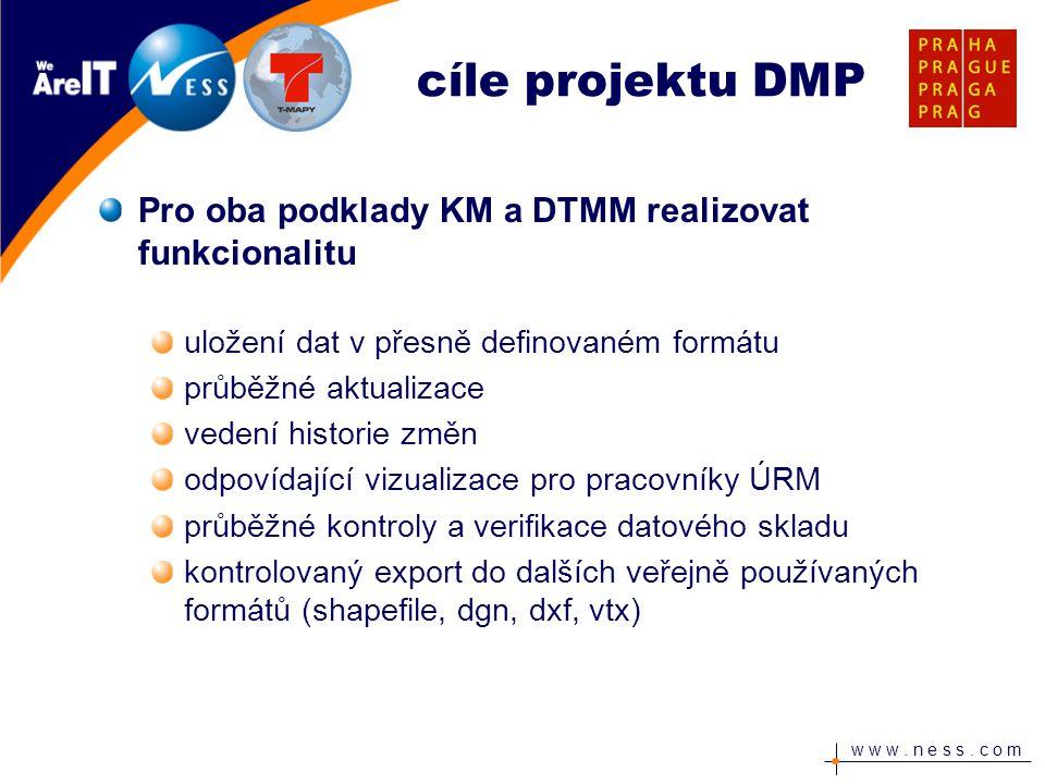 w w w. n e s s. c o m Pro oba podklady KM a DTMM realizovat funkcionalitu uložení dat v přesně definovaném formátu průběžné aktualizace vedení histori