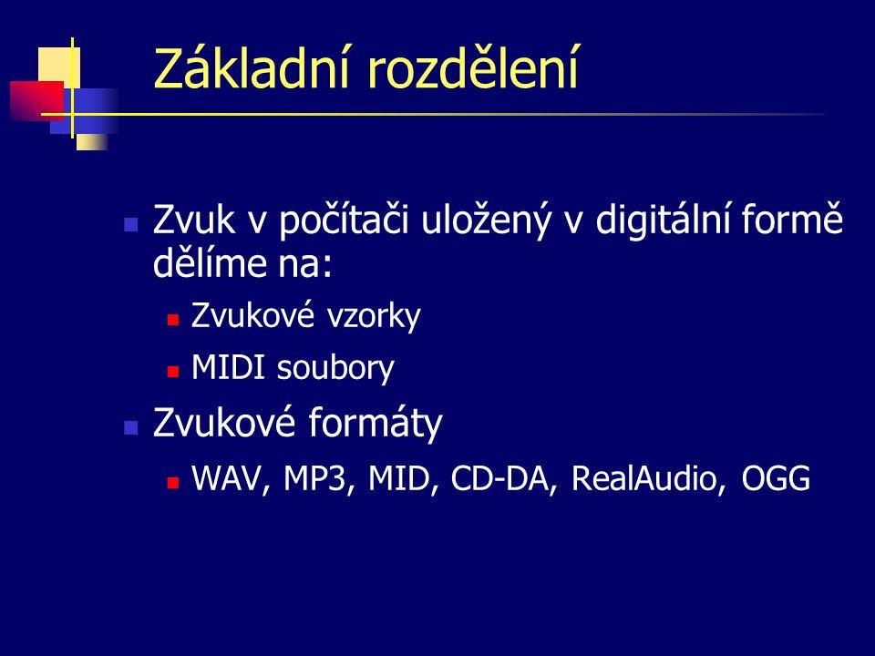 Digitální audio Digitalizace zvuku se provádí měřením signálu v pravidelných časových intervalech.