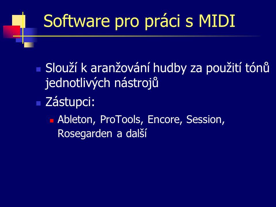Software pro editaci vzorků Slouží především k nahrávání a zpracování audio signálu.