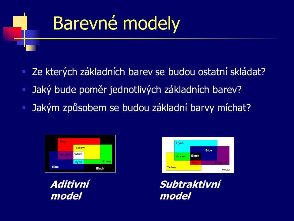Barevná hloubka  1 pixel = barva/prázdno  monochromatický obraz, 1 pixel = 1 bit  1 pixel = určitá barva z palety  obraz s paletou, 1 pixel = 2, 4, 8, 16 bitů  1 pixel = intenzita jedné barvy  odstíny šedi, 1 pixel = 8 bitů  1 pixel = složení libovolné barvy  pravé barvy (true color), 1 pixel = 24 bitů počet bitů potřebných na uložení barvy