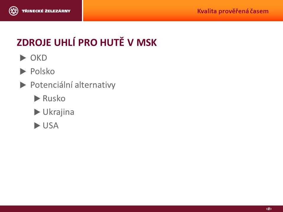 13 Kvalita prověřená časem ZDROJE UHLÍ PRO HUTĚ V MSK  OKD  Polsko  Potenciální alternativy  Rusko  Ukrajina  USA