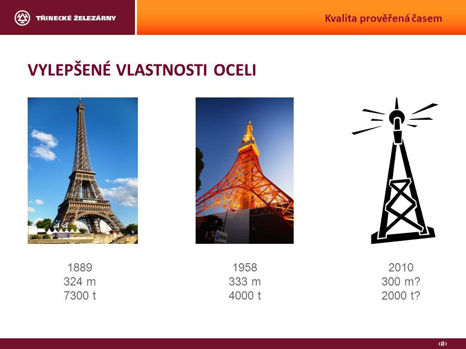 5 Kvalita prověřená časem VYLEPŠENÉ VLASTNOSTI OCELI 1889 324 m 7300 t 1958 333 m 4000 t 2010 300 m.