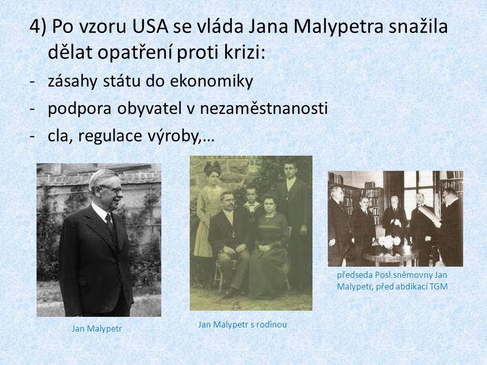 4) Po vzoru USA se vláda Jana Malypetra snažila dělat opatření proti krizi: -zásahy státu do ekonomiky -podpora obyvatel v nezaměstnanosti -cla, regul