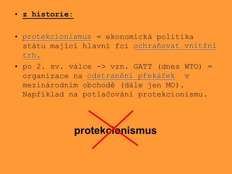 z historie: protekcionismus ochraňovat vnitřní trh.protekcionismus = ekonomická politika státu mající hlavní fci ochraňovat vnitřní trh. odstranění př