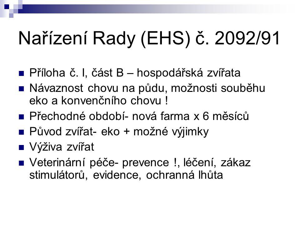 Nařízení Rady (EHS) č. 2092/91 Příloha č. I, část B – hospodářská zvířata Návaznost chovu na půdu, možnosti souběhu eko a konvenčního chovu ! Přechodn