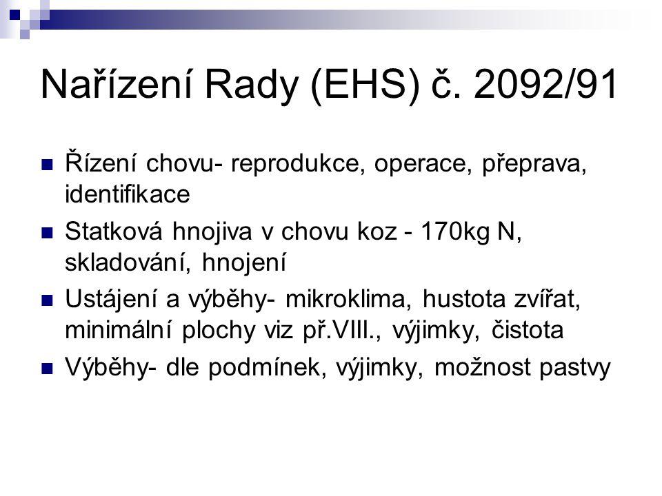 Nařízení Rady (EHS) č. 2092/91 Řízení chovu- reprodukce, operace, přeprava, identifikace Statková hnojiva v chovu koz - 170kg N, skladování, hnojení U