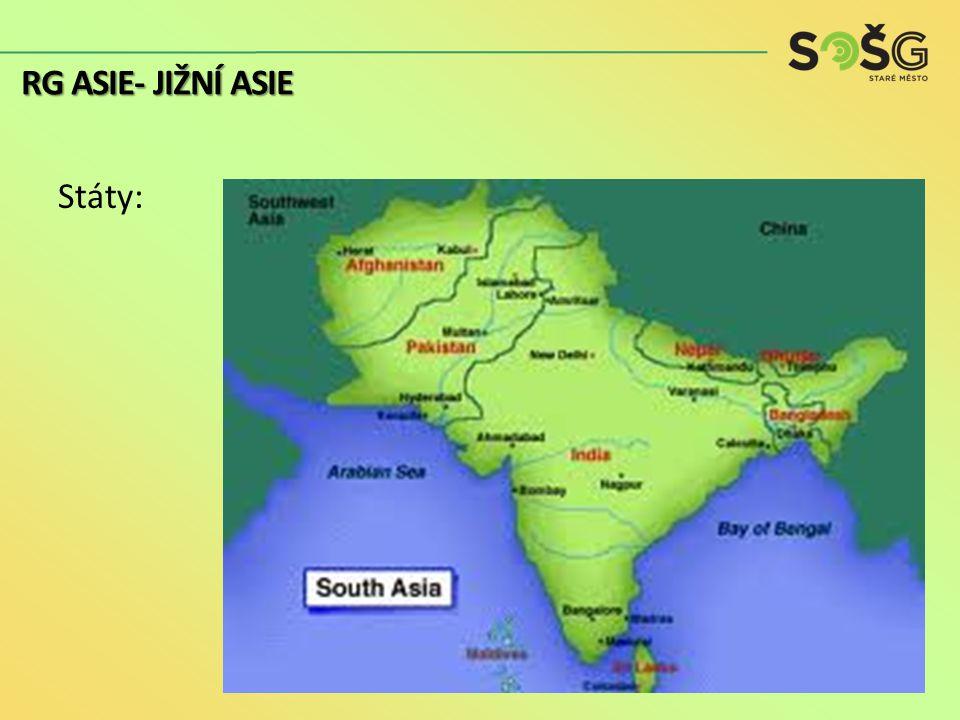 """Různost etnik i náboženství (jaká?) vliv britské kolonizace (přístavy = centra rozvoje, železnice, jízda vlevo) konflikty (Kašmír – Indie x Pákistán, Srí Lanka – tamilští tygři, Afghánistán – Taliban) Zemědělské státy, """"zelená revoluce Velký růst populace (příčiny?) RG ASIE- JIŽNÍ ASIE"""