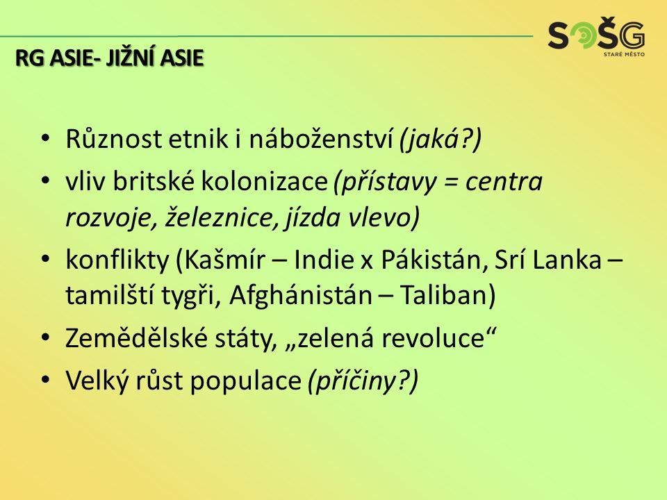 """Různost etnik i náboženství (jaká ) vliv britské kolonizace (přístavy = centra rozvoje, železnice, jízda vlevo) konflikty (Kašmír – Indie x Pákistán, Srí Lanka – tamilští tygři, Afghánistán – Taliban) Zemědělské státy, """"zelená revoluce Velký růst populace (příčiny ) RG ASIE- JIŽNÍ ASIE"""