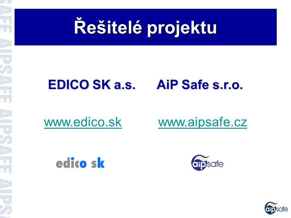 Řešitelé projektu EDICO SK a.s. AiP Safe s.r.o.