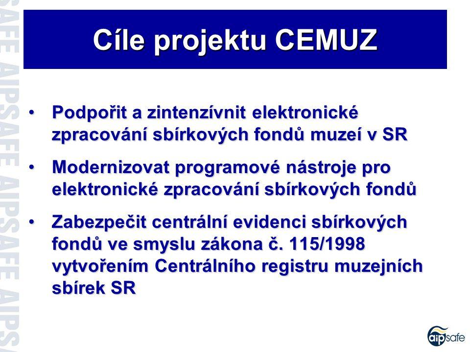 Cíle projektu CEMUZ Podpořit a zintenzívnit elektronické zpracování sbírkových fondů muzeí v SRPodpořit a zintenzívnit elektronické zpracování sbírkových fondů muzeí v SR Modernizovat programové nástroje pro elektronické zpracování sbírkových fondůModernizovat programové nástroje pro elektronické zpracování sbírkových fondů Zabezpečit centrální evidenci sbírkových fondů ve smyslu zákona č.