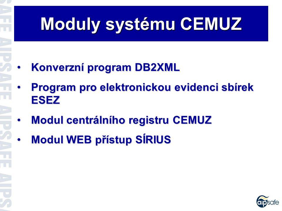 Modul DB2XML Běží na platformě WindowsBěží na platformě Windows Spolehlivá detekce položek v databázi AMIS a BachSpolehlivá detekce položek v databázi AMIS a Bach Možnost definování rozsahu konverzeMožnost definování rozsahu konverze Export dat do formátu XML na určené místoExport dat do formátu XML na určené místo Vygenerovaná data je možné komprimovatVygenerovaná data je možné komprimovat Postupem exportu uživatele provází WizardPostupem exportu uživatele provází Wizard