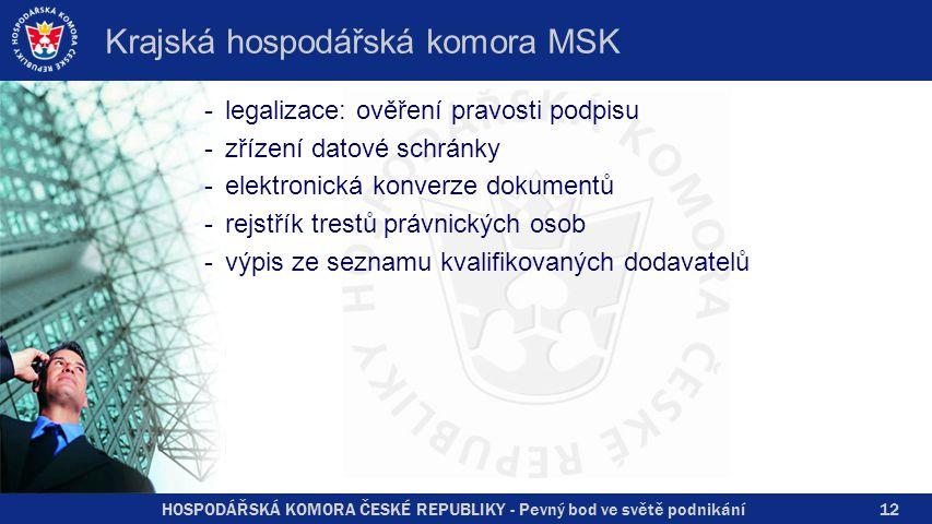 HOSPODÁŘSKÁ KOMORA ČESKÉ REPUBLIKY - Pevný bod ve světě podnikání Krajská hospodářská komora MSK -legalizace: ověření pravosti podpisu -zřízení datové