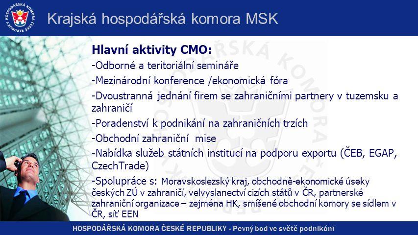 HOSPODÁŘSKÁ KOMORA ČESKÉ REPUBLIKY - Pevný bod ve světě podnikání Krajská hospodářská komora MSK Hlavní aktivity CMO: -Odborné a teritoriální semináře