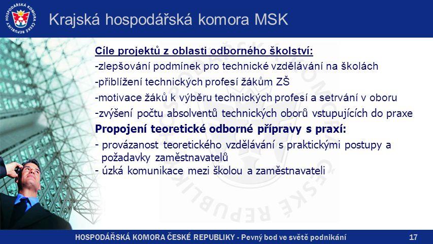 HOSPODÁŘSKÁ KOMORA ČESKÉ REPUBLIKY - Pevný bod ve světě podnikání Krajská hospodářská komora MSK Cíle projektů z oblasti odborného školství: -zlepšová