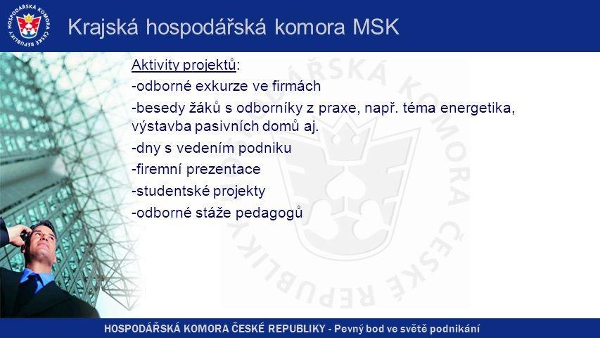 HOSPODÁŘSKÁ KOMORA ČESKÉ REPUBLIKY - Pevný bod ve světě podnikání Krajská hospodářská komora MSK Aktivity projektů: -odborné exkurze ve firmách -besed