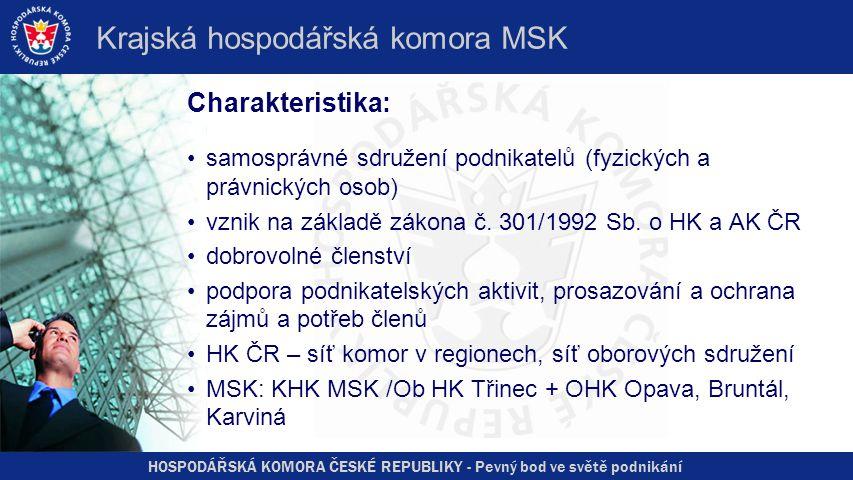 HOSPODÁŘSKÁ KOMORA ČESKÉ REPUBLIKY - Pevný bod ve světě podnikání Krajská hospodářská komora MSK Charakteristika: samosprávné sdružení podnikatelů (fy