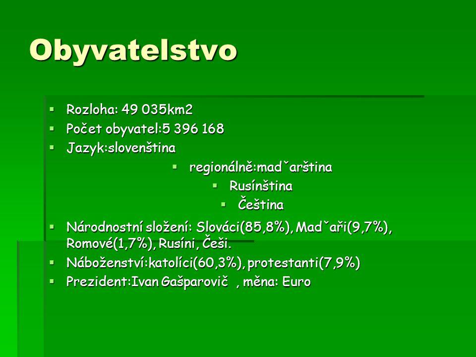 Obyvatelstvo  Rozloha: 49 035km2  Počet obyvatel:5 396 168  Jazyk:slovenština  regionálně:madˇarština  Rusínština  Čeština  Národnostní složení